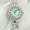 43.60 G. 925 Sterling Silver Womens Wristwatch 7 Inch. Round CZ Luxury for Gift