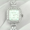 33.40 G. 925 Sterling Silver Womens Wristwatch 6.5 Inch. Round White CZ Luxury