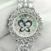 49.16G. 925 Sterling Silver Womens Wristwatch 7.5 Inch. White CZ Luxury Fashion