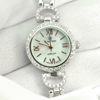 23.76 G.Ladies 925 Silver Wristwatch 7 Inch. Round White CZ Beautiful For Gift