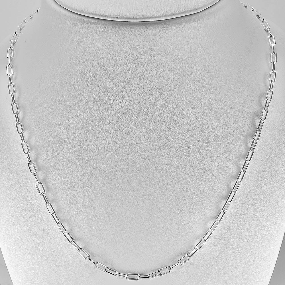 11.07 G. Fine Jewelry Real 925 Sterling Silver Chain Necklace Length 20 Inch.