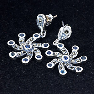 Wonderful Real Sapphire 925 Silver Earrings Jewelry