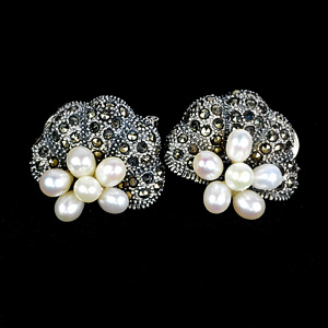 20.71 G. Oval Cabochon Pearl And Black Marcasite 925 Silver Jewelry Earrings