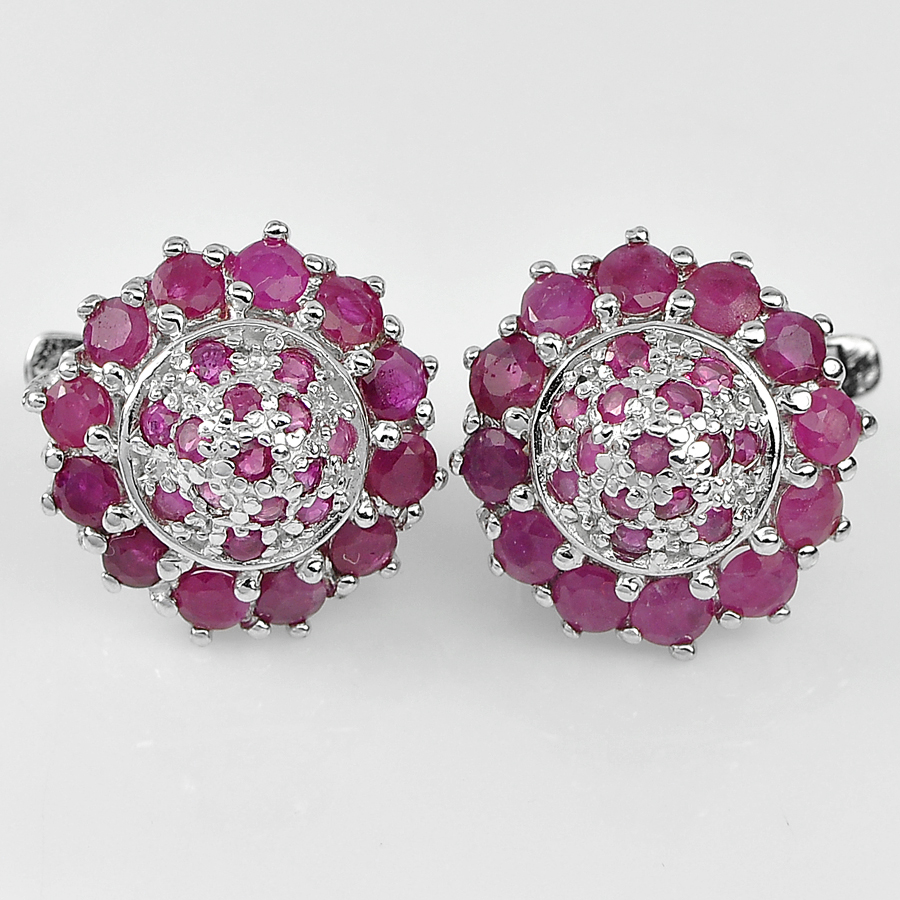Lovely 8.10 G. Round Natural Purplish Red Ruby Real 925 Silver Jewelry Earrings