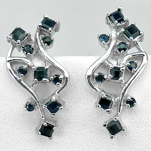8.68 G. Natural Deep Blue Sapphire Thailand Real 925 Silver Jewelry Earrings