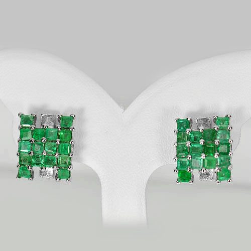 6.04 G. Natural Gemstone Green Emerald Real 925 Sterling Silver Jewelry Earrings