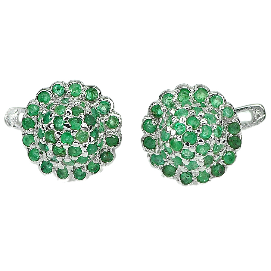 6.80 G. Natural Gemstones Green Emerald Real 925 Sterling Silver Earrings