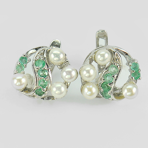 6.31 G. Beauty White Pearl And Green Emerald 925 Silver Jewelry Earrings