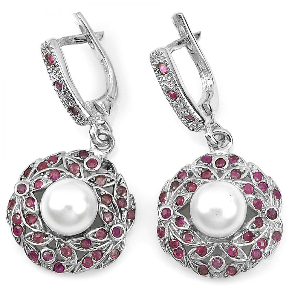 9.34 G. Natural White Pearl And Pink Ruby Real 925 Silver Fine Jewelry Earrings