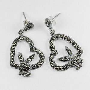 6.06 G. Black Marcasite 925 Sterling Silver Jewelry Earrings