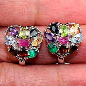 4.90 G. Natural Mixed Gems Real 925 Silver Fine Jewelry Earrings Thailand