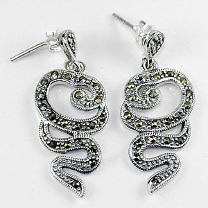 5.94 G. Black Marcasite 925 Silver Jewelry Earrings
