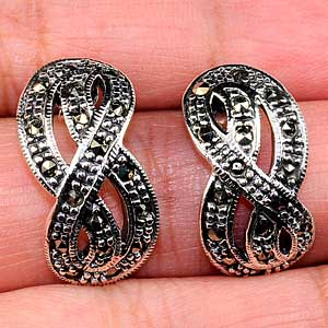 7.09 G. Balck Round Marcasite Sterling Silver 925 Jewelry Earrings