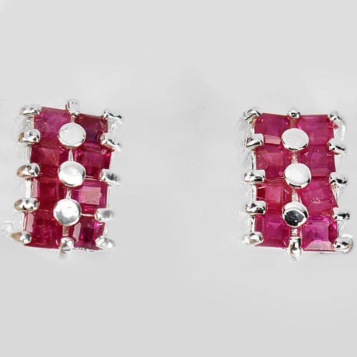 2.10 G. Natural Pink Red Ruby Real 925 Sterling Silver Fine Jewelry Earrings