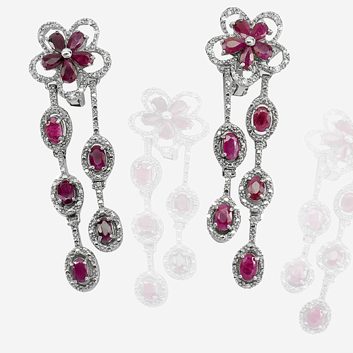 11.83 G. Oval Shape Natural Purplish Red Ruby 925 Silver Jewelry Earrings