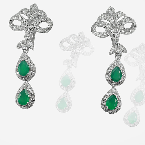 8.95 G. Pear Shape Natural Green Emerald 925 Silver Jewelry Earrings