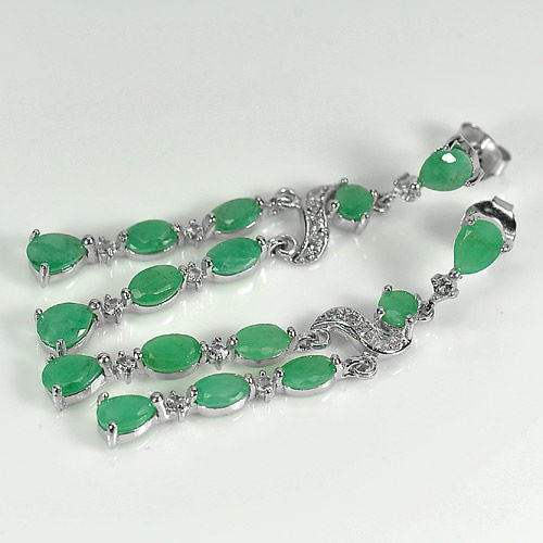 7.08 G. Beautiful Natural Green Emerald 925 Silver Jewelry Earrings