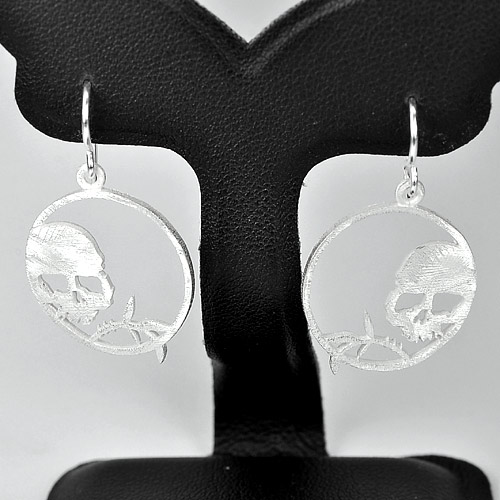 1 Pc. /$16.99 Wholesale Natural 925 Sterling Silver Jewelry Earrings Skull Shape