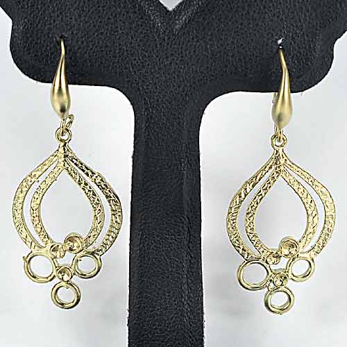 1 Pc. / $ 6.52 Wholesale Beauteous 70 Sterling Yellow Silver Jewelry Earrings