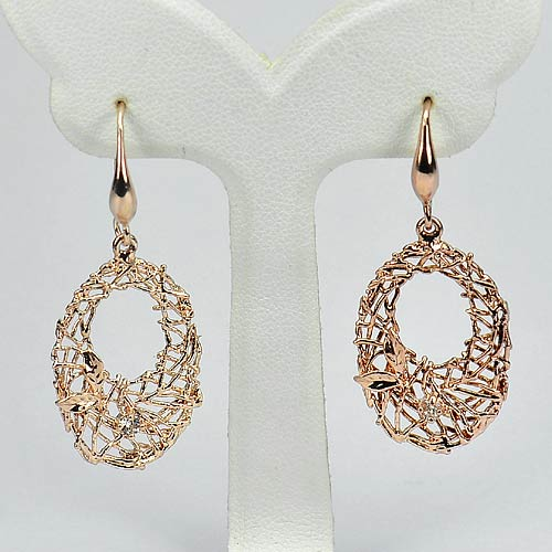 3.38 G. Delightful Real 70 Sterling Silver Rose Gold Plated Drop Earrings