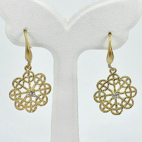 1 Pc. / $ 6.16 Wholesale Attractive 70 Sterling Yellow Silver Jewelry Earrings
