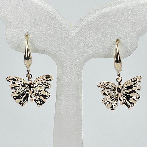 2.81 G. Real 70 Sterling Silver Rose Pink Plated Jewelry Earrings