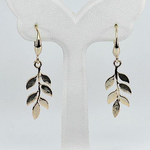 2.70 G. Good Design Leaf Real 70 Sterling Silver Rose Gold Plated Earrings