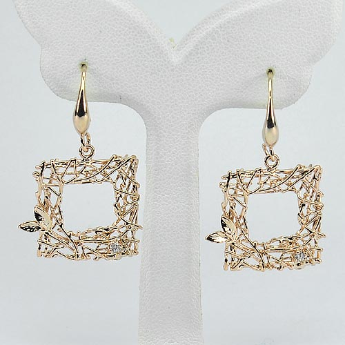 3.72 G. Real 70 Sterling Silver Rose Gold Plated Earrings Design Square