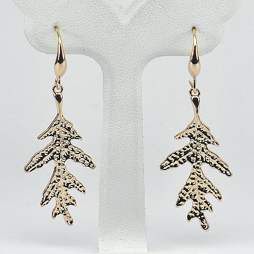 3.84 G. Real 70 Sterling Silver Rose Gold Plated Earrings Leaf Beautiful