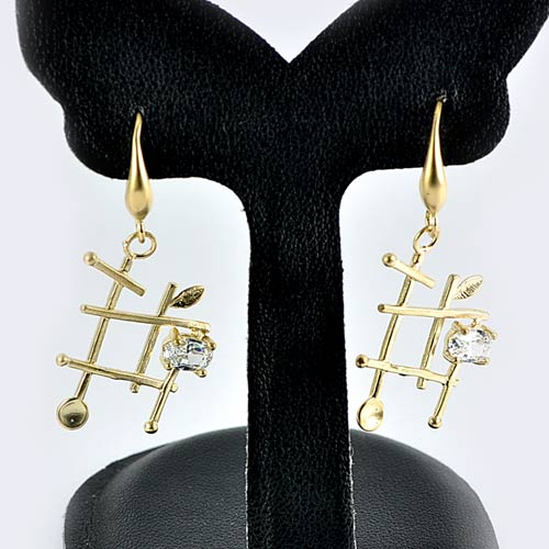 1 Pc. / $ 7.34 Wholesale Lovely 70 Sterling Yellow Silver Jewelry Earrings