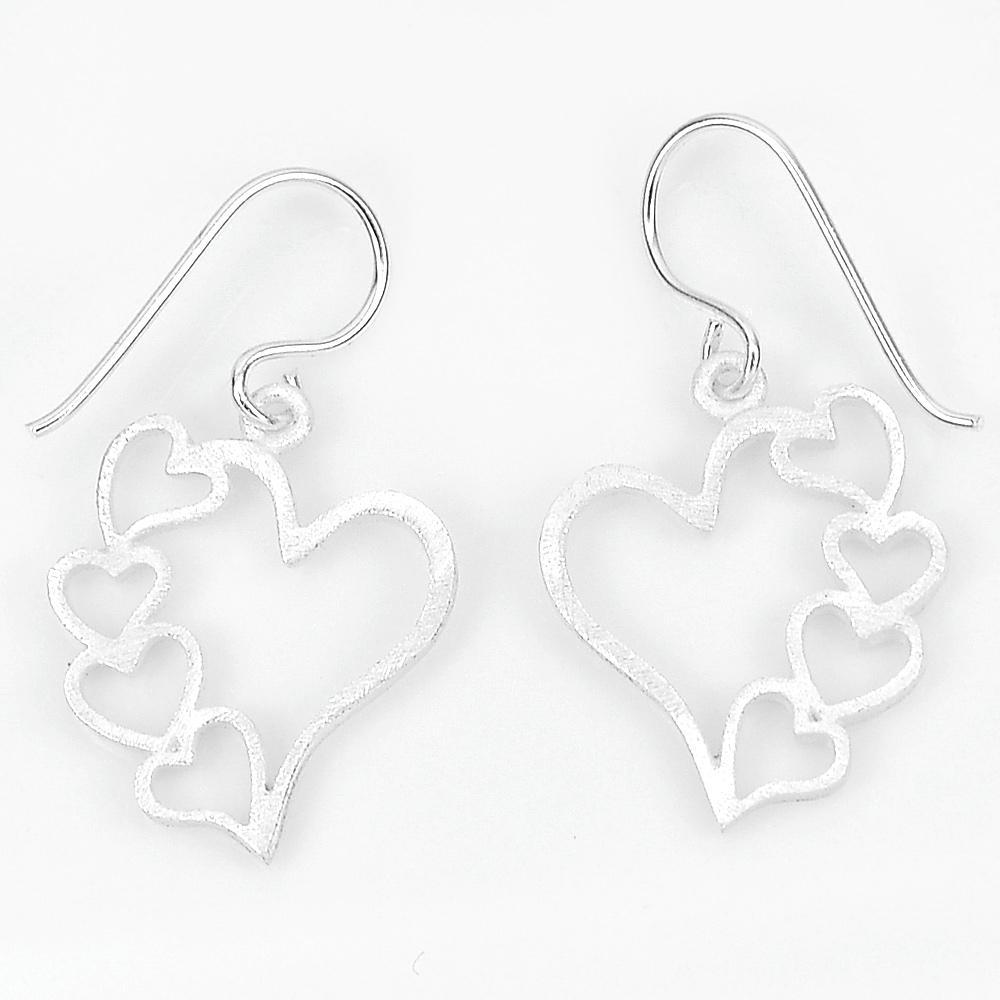 2.33 G. Amazing Real 925 Sterling Silver Dangle Earrings Fine Jewelry Heart