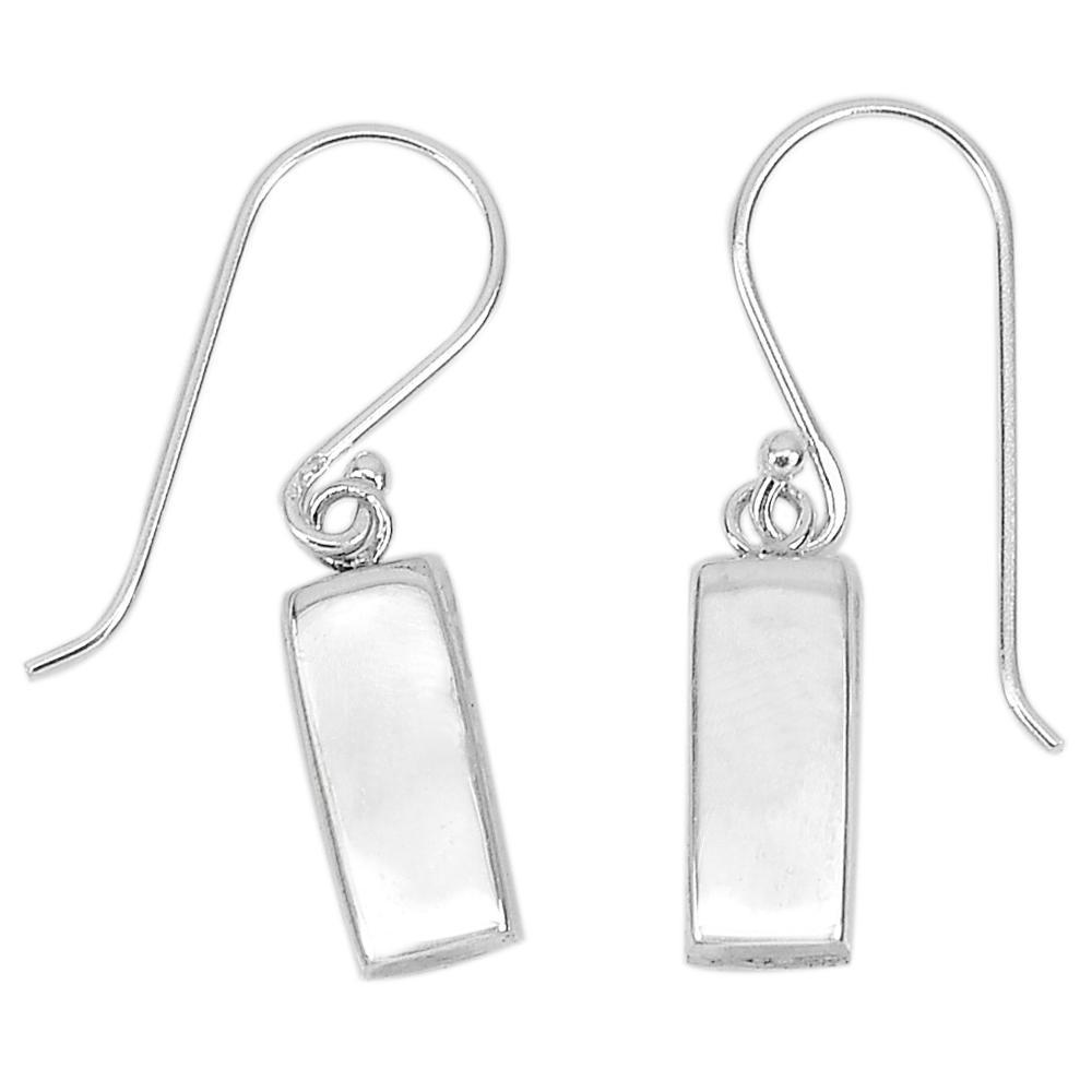 1.27 Grams. Good Classic Real 925 Sterling Silver Dangle Earrings Fine Jewelry