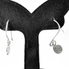 1.71 G. Attractive 70 Sterling Silver Jewelry Earrings Small Coil