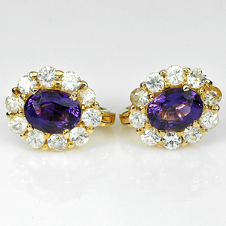 3.73 Ct. Gems Natural Purple Amethyst and White Zircon 14K  Solid Gold Earrings