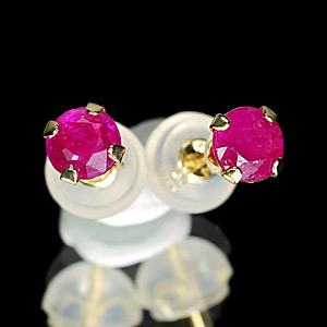 Christmas Gift Ruby 10 K Solid Gold Jewelry Earring
