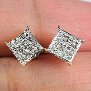 0.96 G. Natural Loose Diamond 10K Solid Gold Earring