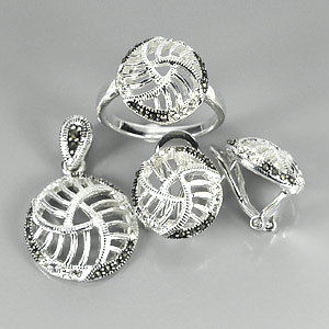 Silver Jewelry Sets 13.04 G. Black Marcassite Ring Pendant Earrings