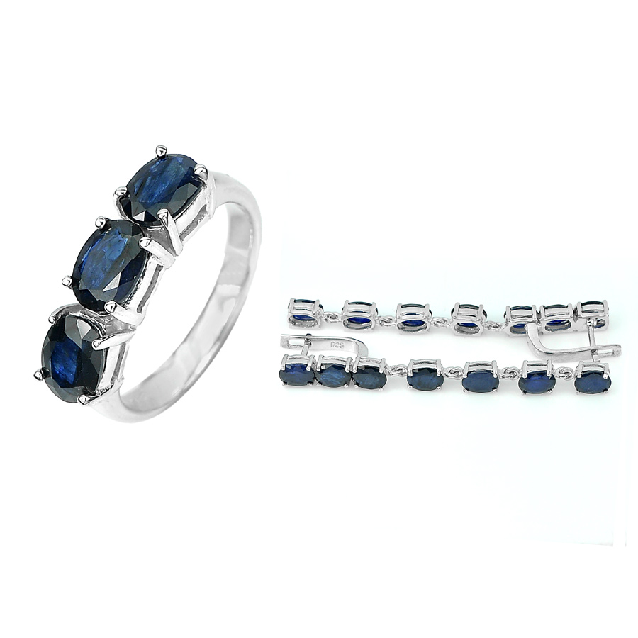 14.16 G. Natural Blue Sapphire 925 Sterling Silver Sets Ring Size 7 Earrings