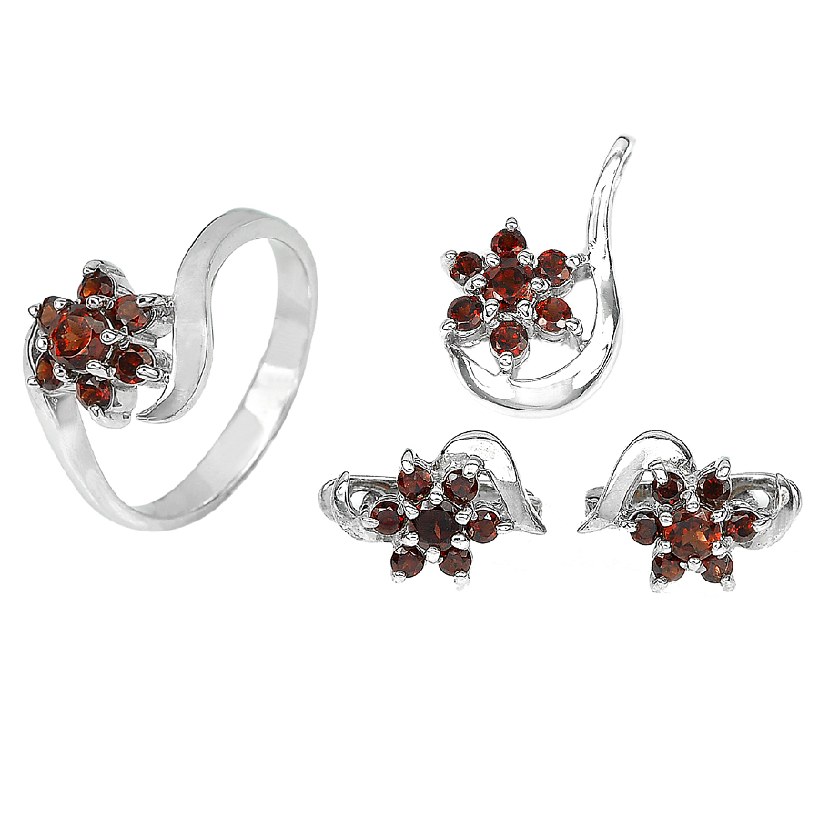 12.68 G. Natural Spessartine Garnet 925 Sterling Silver Ring Pendant Earrings