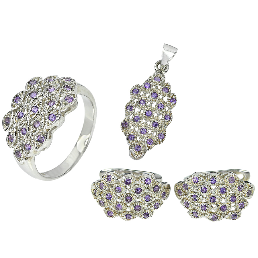 Natural Purple Amethyst 925 Sterling Silver Sets Ring Size 8 Pendant Earrings