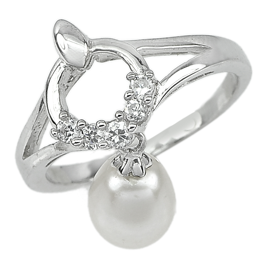 3.67 G. Oval Cab Natural White Pearl Real 925 Sterling Silver Ring Size 10.5
