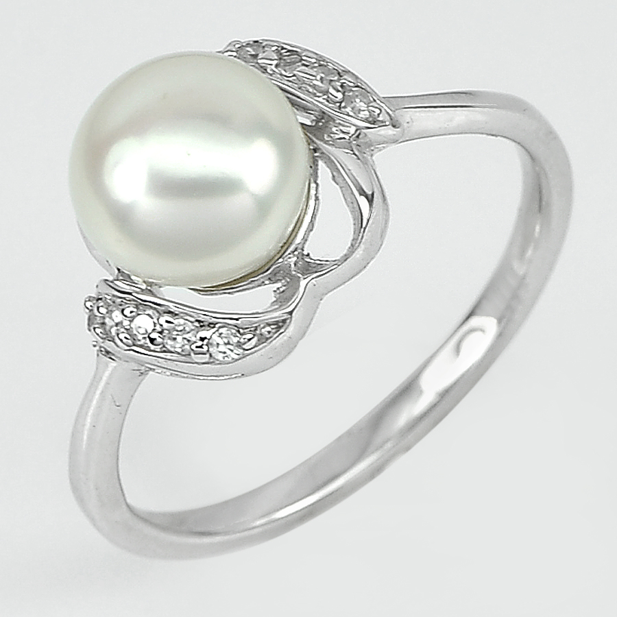 3.37 G. Natural White Pearl with White CZ Real 925 Sterling Silver Ring Size 8