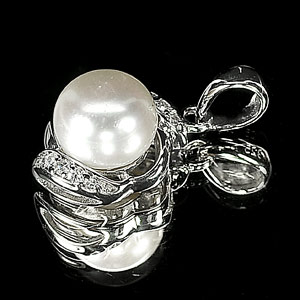 2.25 G. New Design Jewelry Sterling Silver White Pearl Pendant