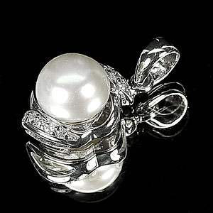 2.27 G. Jewelry Sterling Silver Pendant Natural White Pearl