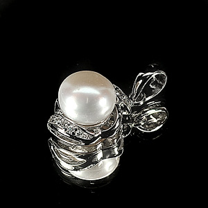 2.29 G. Natural White Pearl Jewelry Sterling Silver Pendant
