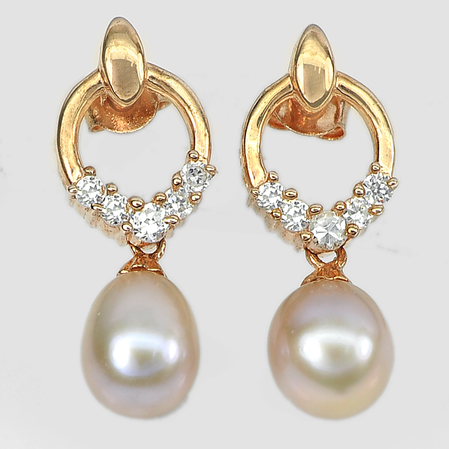 4.42 G. Natural Pink Pearl with CZ Real 925 Sterling Silver Rose Gold Earrings