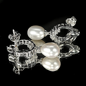 4.09 G. Ravishing Natural White Pearl Jewelry Sterling Silver Earring