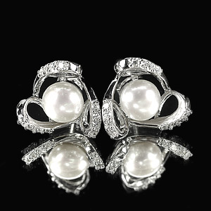 4.10 G. Seductive Natural White Pearl Jewelry Sterling Silver Earring