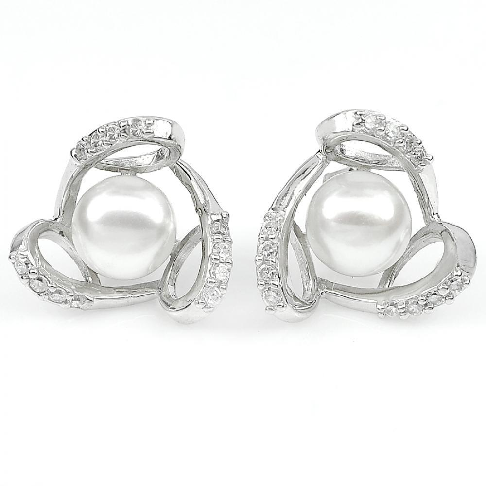 4.06 G. Natural White Pearl with CZ Real 925 Sterling Silver Jewelry Earrings