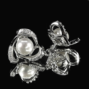 4.03 G. Alluring Natural White Pearl Jewelry Sterling Silver Earring